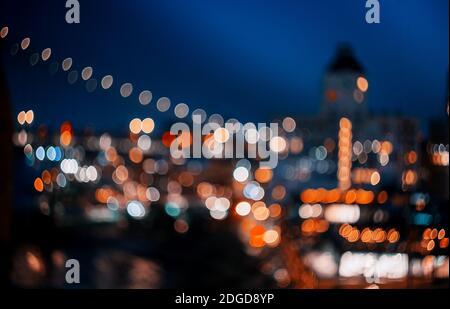 Abstract bokeh city light at night skyline of downtown New York Manhattan