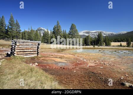 Soda Springs in Tuolumne Meadows, Yosemite National Park, USA.  Lembert Dome can be seen behind the tree line. Minerals have caused the colours.