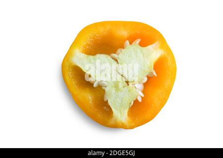 Cross section of yellow bell pepper, top view.
