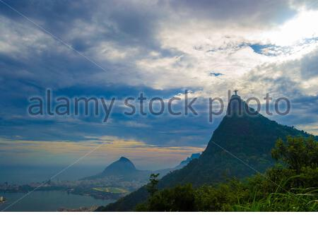 View from far from the corcovado in Rio de Janeiro - Stock Photo