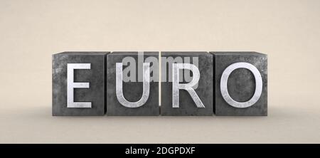 Euro symbol on metal stamp - Illustration