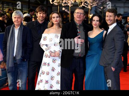 Tom Courtenay (left to right), Michiel Huisman, Lily James, Mike Newell, Jessica Brown Findlay and Glen Powell attending the world premiere of The Guernsey Literary and Potato Peel Pie Society at the Curzon Mayfair, London. Photo credit should read: Doug Peters/EMPICS Entertainment