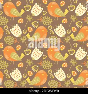 Vector Seamless pattern with birds, flowers and ladybugs