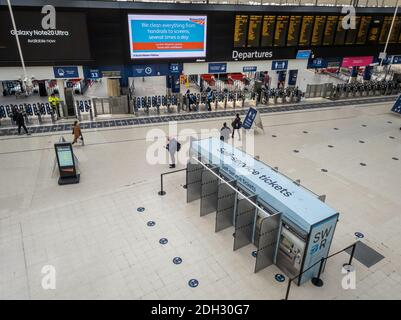 The passenger hall of Waterloo railway station during Covid-19 pandemic.
