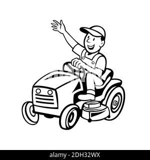 Farmer Riding Ride-on Mower Waving Hand Cartoon Black and White