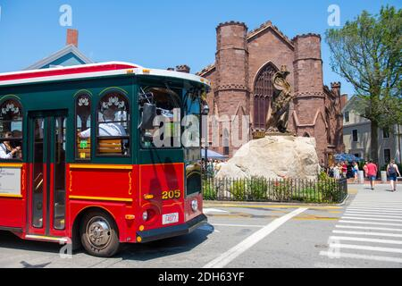 Salem Trolley in front of Salem Witch Museum in historic town Salem, Massachusetts MA, USA. - Stock Photo
