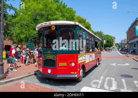 Salem Trolley in historic town Salem, Massachusetts MA, USA. - Stock Photo