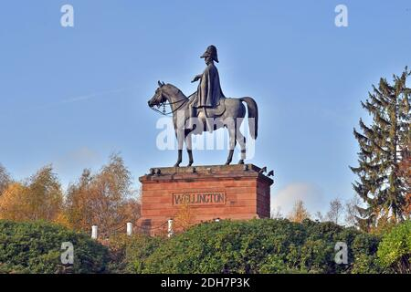 Photos for a feature on Wellesley Woodland, Aldershot - Autumn weekend walks feature. The Wellington Statue.