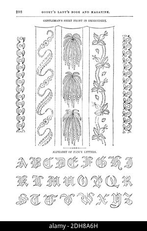 Embroidery Patterns for gentleman's shirt Godey's Lady's Book and Magazine, March, 1864, Volume LXIX, (Volume 69), Philadelphia, Louis A. Godey, Sarah Josepha Hale,