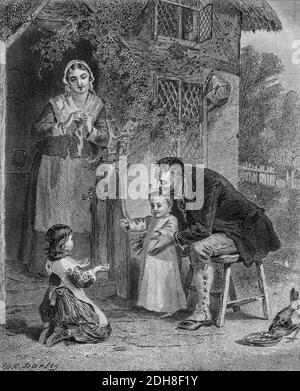 Domestic love - Come Baby Come. from Godey's Lady's Book and Magazine, Vol 101 July to December 1880 in Philadelphia