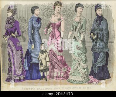 Colour drawing of Godey's women's Fashion for December 1880 from Godey's Lady's Book and Magazine, 1880 Philadelphia, Louis A. Godey, Sarah Josepha Hale,