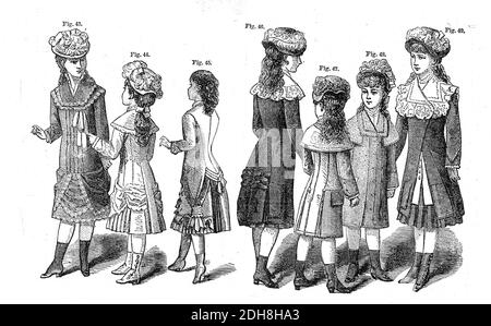 children's Fashion From Godey's Lady's Book and Magazine, Vol 101 July to December 1880 published in Philadelphia - Stock Photo
