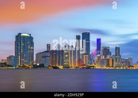 Miami, Florida, USA downtown city skyline on Biscayne Bay at twilight.