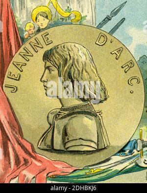 Old color lithography portrait of Joan of Arc. Jeanne d'Arc (1412-1431) nicknamed The Maid of Orleans. La Pucelle d'Orléans. Heroine of France for her role during the Lancaster phase of the Hundred Years War, and was canonized as a Catholic saint. Burned at the stake on May 30, 143. Symbol of the Catholic League. National symbol of France by decision of Napoleon Bonaparte.Beatified in 1909 and canonized in 1920. France. Les Français Illustres by Gustave Demoulin 1897 - Stock Photo