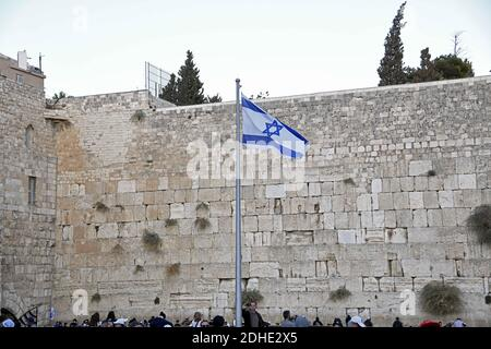 Very high resolution late afternoon view of the Israeli flag flying in front of the Western Wall in the Old City of Jerusalem on Thursday, November 2, 2017.Photo by Ron Sachs / CNP/ABACAPRESS.COM - Stock Photo