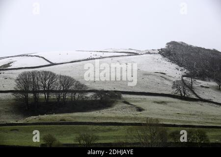 Pictured is a snowy scene in the Yorkshire Dales above Settle. weather snow winter snowing