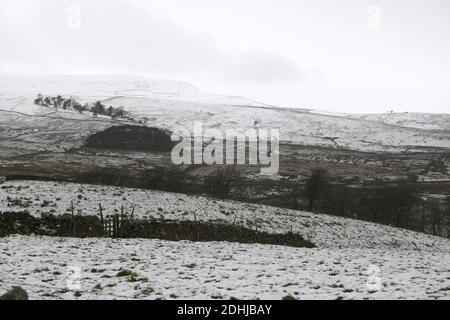 Pictured is a snowy scene in the Yorkshire Dales above Hawes. weather snow winter snowing