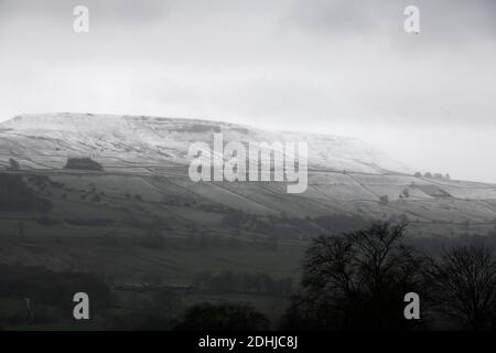 Pictured is a snowy scene in the Yorkshire Dales above Leyburn. weather snow winter snowing