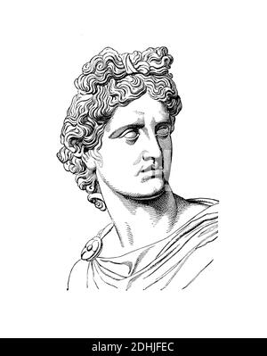 Original artwork of  Phoebus Apollo, . Published in A pictorial history of the world's great nations: from the earliest dates to the present time (Cha - Stock Photo
