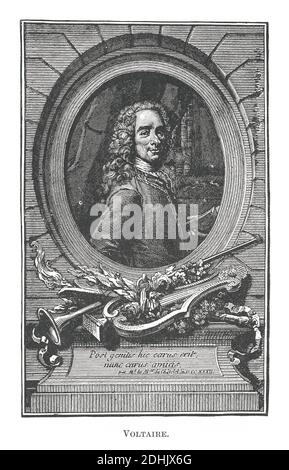 19th-century illustration of portrait of François-Marie Arouet (21 November 1694 – 30 May 1778), known by his nom de plume Voltaire, was a French Enli Stock Photo