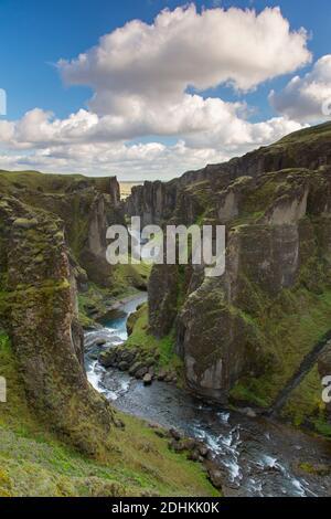 Fjaðrá river flowing through the Fjaðrárgljúfur / Fjadrargljufur canyon near Kirkjubæjarklaustur in summer, Iceland