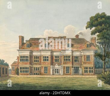 Ealing House, Middlesex, Charles Tomkins, 1757–1823, British, undated, Pen and brown and black ink and watercolor over graphite on medium, smooth, white wove paper, Sheet: 6 7/8 × 8 1/8 inches (17.5 × 20.6 cm), architectural subject, exterior view, house, Ealing, England, Europe, Middlesex, United Kingdom - Stock Photo