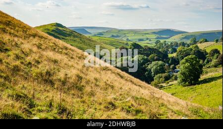 Parkhouse Hill and the Staffordshire Moorlands from the slopes of High Wheeldon near Longnor in the Derbyshire Peak District UK