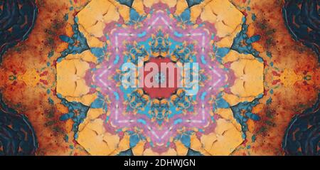 Beautiful esoteric mandala with ornament in cyan and orange. Ancient magic concept - Stock Photo