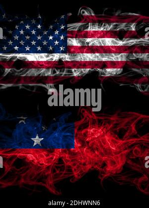 United States of America, America, US, USA, American vs Samoa smoky mystic flags placed side by side. Thick colored silky abstract smoke flags - Stock Photo