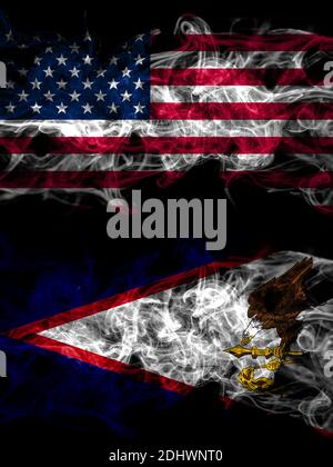 United States of America, America, US, USA, American smoky mystic flags placed side by side. Thick colored silky abstract smoke flags. - Stock Photo