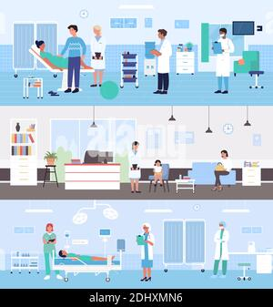 Healthcare medicine hospital service vector illustration set. Cartoon doctor character examining pregnant woman patient in medical ward, family with kid waiting pediatrician examination background