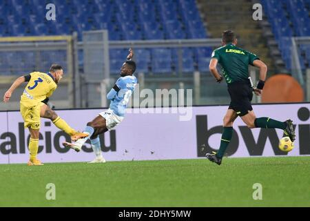 Rome, Italy. 12th Dec, 2020. Rome, Italy, Stadio Olimpico, December 12, 2020, ROME, ITALY - December 12 : Federico Di Marco (3) of Hellas Verona scores the opening goal during soccer match between SS Lazio and Hellas Verona at Stadio Olimpico on December 12, 2020 during SS Lazio vs Hellas Verona - Italian football Serie A match Credit: Claudio Pasquazi/LPS/ZUMA Wire/Alamy Live News