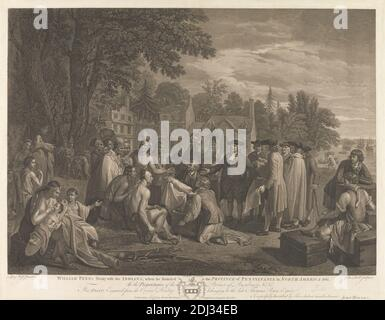 William Penn's Treaty with the Indians, Print made by John Hall, 1739–1797, British, after Benjamin West, 1738–1820, American, active in Britain (from 1763), 1775, Line-engraving and etching, published state, Plate: 16 3/4 x 23 1/4in. (42.5 x 59.1cm Stock Photo