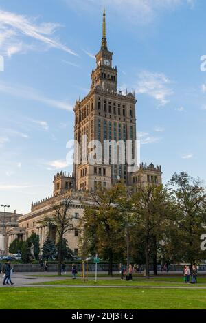 Warsaw, Poland - September 15, 2017: Sunset view of the unique, soviet-style Palace of Science and Cullture in the center of Poland's capital Warsaw - Stock Photo