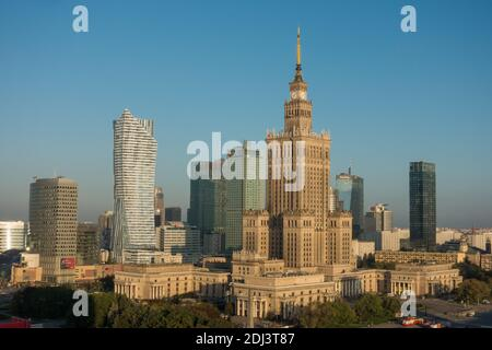 Warsaw, Poland - September 13, 2017: Morning view over the Warsaw City Center with the unique, soviet-style Palace of Science and Cullture - Stock Photo