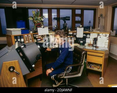 MARITIME PILOT in harbor at Landsort in Södermanland south of Stockholm at his office lookout by radar and radio