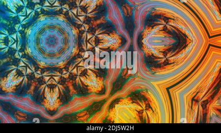 Part of Beautiful mandala with ornament in cyan and orange. Esoteric magic concept. - Stock Photo