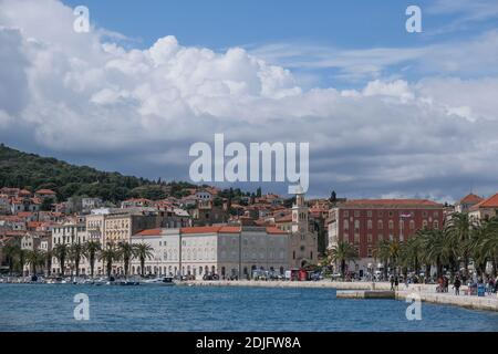 View from seaside of the old town of Split, Dalmatia, Croatia,Europe.