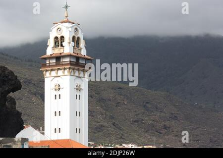 Bell tower of the Basilica of Our Lady of Candelaria located in the city of La Candelaria in Santa Cruz de Tenerife, Spain