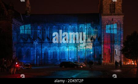 Germany, Saxony-Anhalt, Magdeburg, illuminated Magdeburg Cathedral, anniversary 500 years of completion of the cathedral, light show Magdeburg in light - Stock Photo
