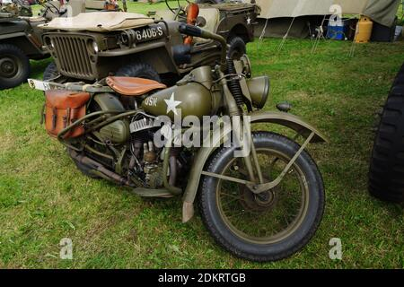 Vintage Harley Davidson WLA military motor cycle used extensively by the allied armies in World War Two