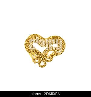 High Angle View Of Gold Chain Necklace On White Background