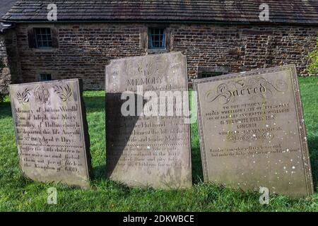Early 19th century gravestones in the cemetery of St Bartholomew's Church, Longnor, Peak District National Park, Staffordshire