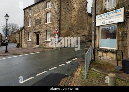 The general store and the Horseshoe Inn, Buxton Road, Longnor, Peak District National Park, Staffordshire