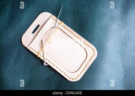 High Angle View Of Leather Pouch On Table