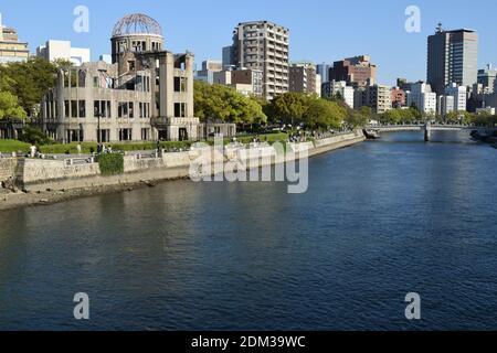 Hiroshima Peace Memorial (Genbaku Dome, Atomic Bomb Dome) in Hiroshima, Japan - Stock Photo