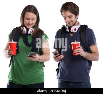 Junge Leute mit Handy Smartphone Cola Getränk jung Jugendliche Freisteller freigestellt auf weissem Hintergrund