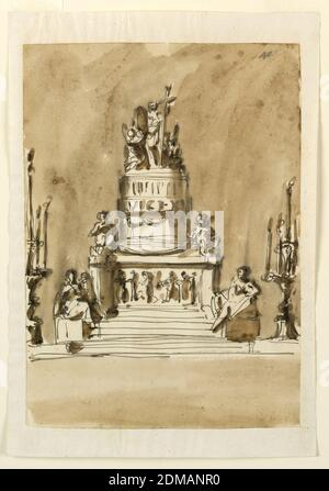 Funeral Decorations for King Louis XVI of France, Giuseppe Barberi, Italian, 1746–1809, Pen and brown ink, brush and brown wash on lined off-white laid paper, Below is a base with steps and laterally standing candlesticks with a row of burning candles and one in the center on top. More steps are leading toward the pedestal. They are flanked by obliquely disposed bases with female allegories sitting upon them. The lower part of the pedestal is angular, its front panel being decorated with a relief. Putti sit upon its corners and support a festoon. The upper part is circular