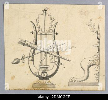 Design for Decorative Motifs, Graphite, pen and ink, brush and wash on paper, At left, a lyre with a bow, a thyrsus, a quiver in front of it, with a torch and a wreath on top of it. At right is the left half of the foot of a candelabrum., Italy, 1820–1830, ornament, Drawing - Stock Photo
