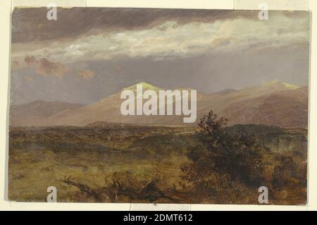 Catskills at sunset, Frederic Edwin Church, American, 1826–1900, Oil paint on cardboard, View of strong yellow light illuminating a distant chain of hills. Gray skies overhead. Scrub-brush in the foreground., USA, 1882, landscapes, Drawing